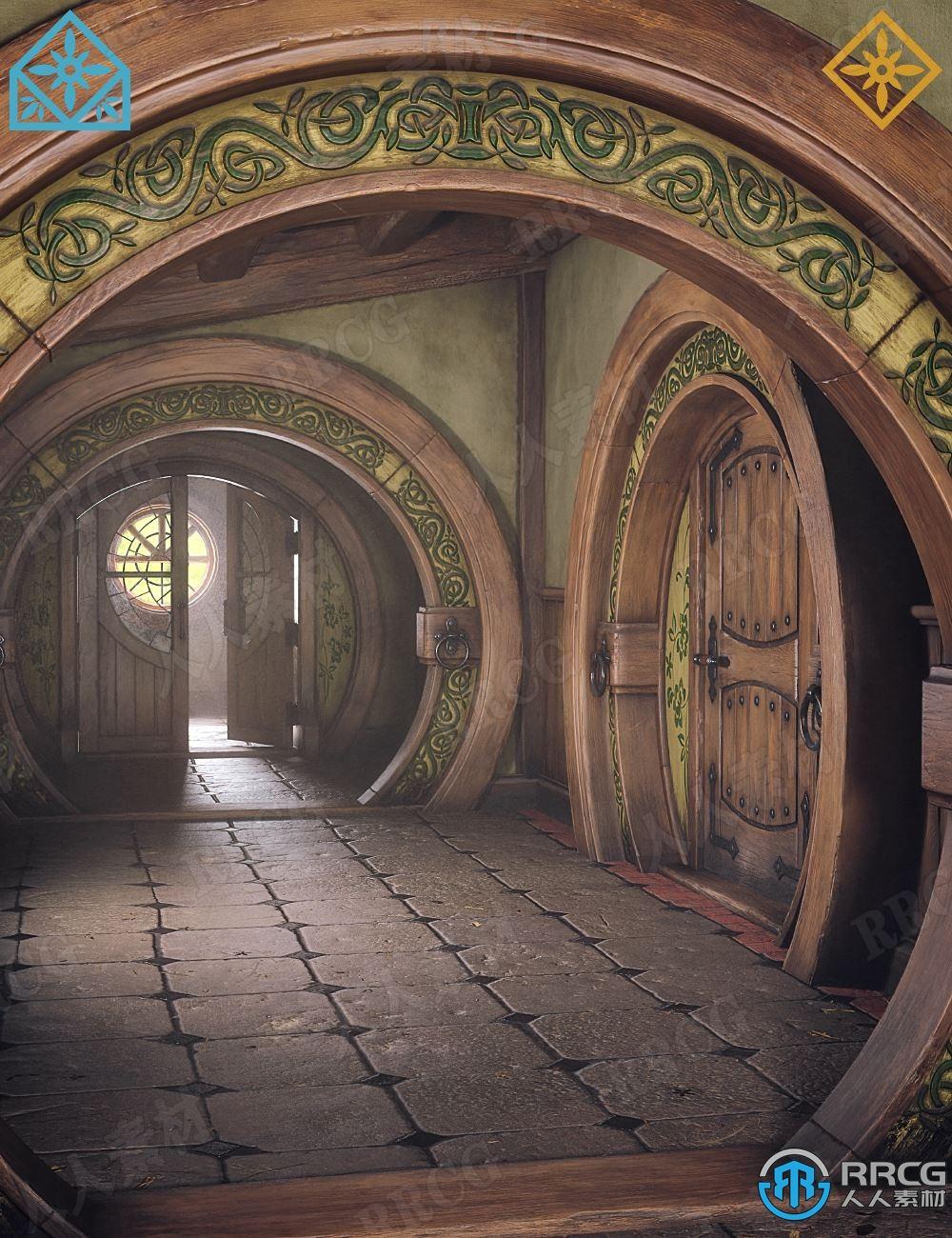 梦幻复古走廊动画建筑场景环境3D模型合集