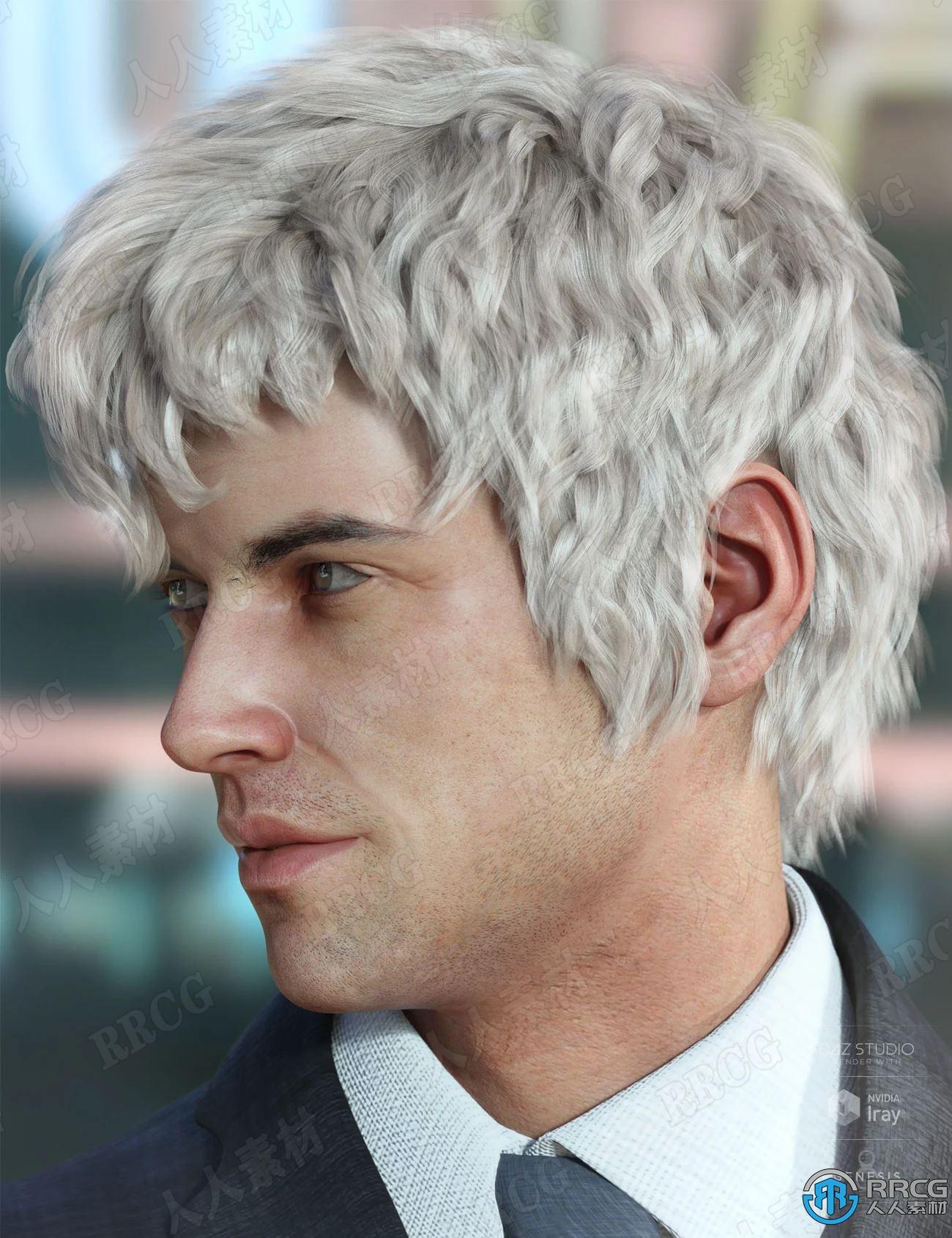 不同发色波浪卷发男性发型3D模型合集