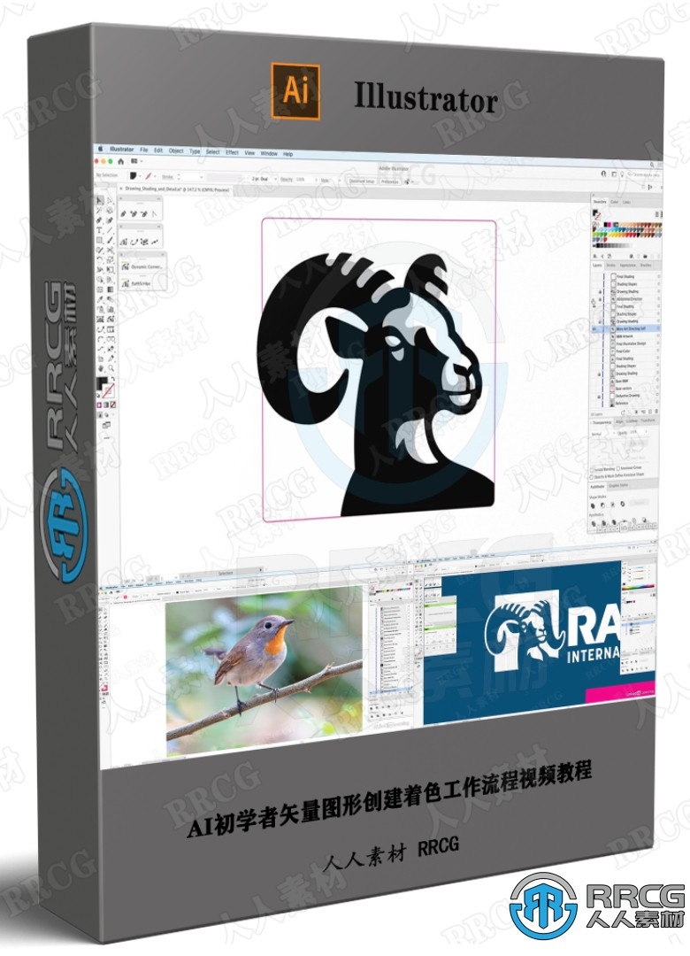 AI初学者矢量图形创建着色工作流程视频教程