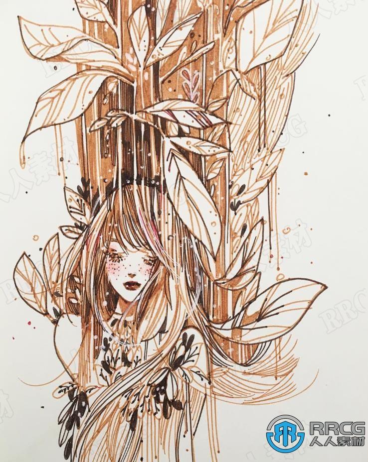 韩国画师Conniekims美丽女生漫画头像手绘原画插画集