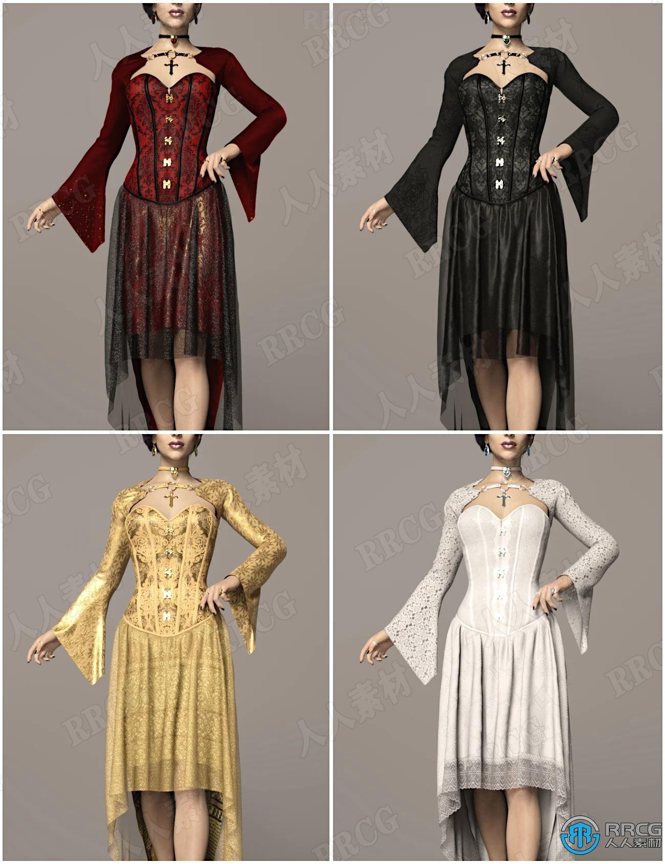 长摆尾不同颜色高端蕾丝女性服饰套装3D模型合集