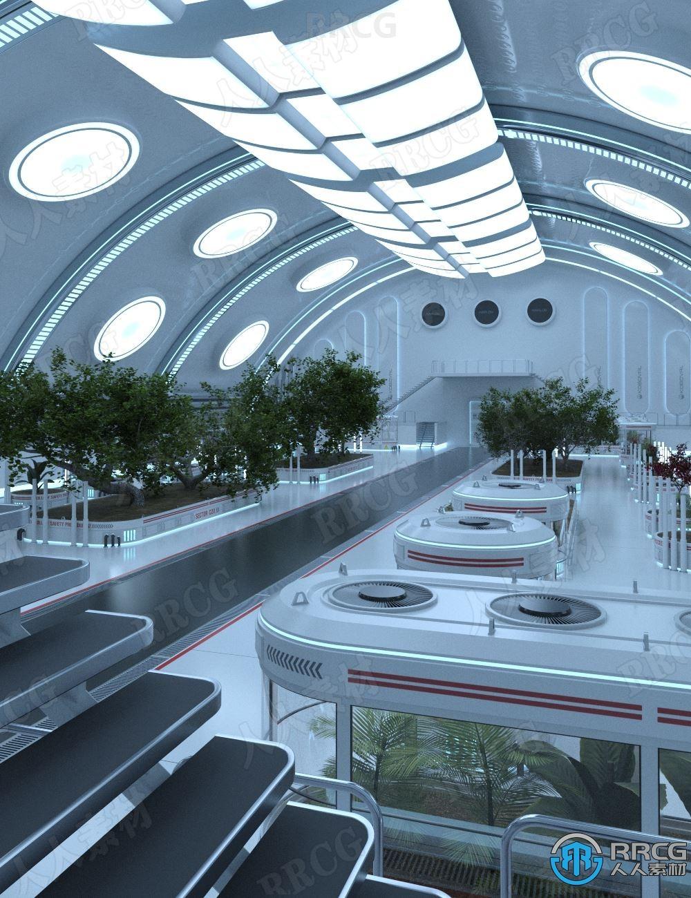 5种室内科幻植物园灯光渲染效果3D模型合集