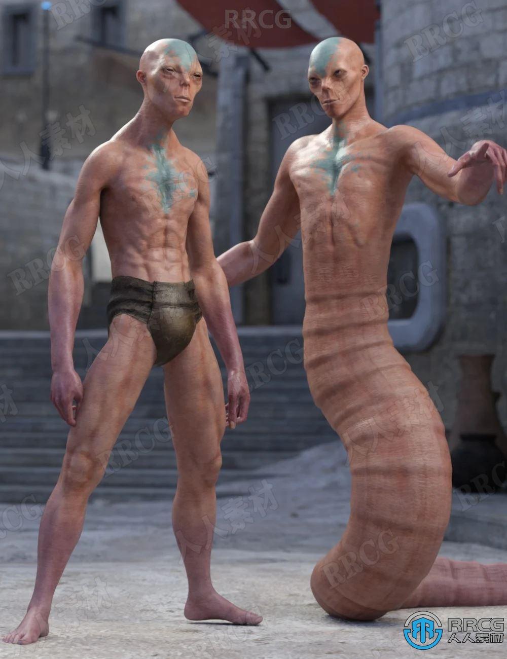 逼真皮肤蠕虫状尾巴外星人角色3D模型合集