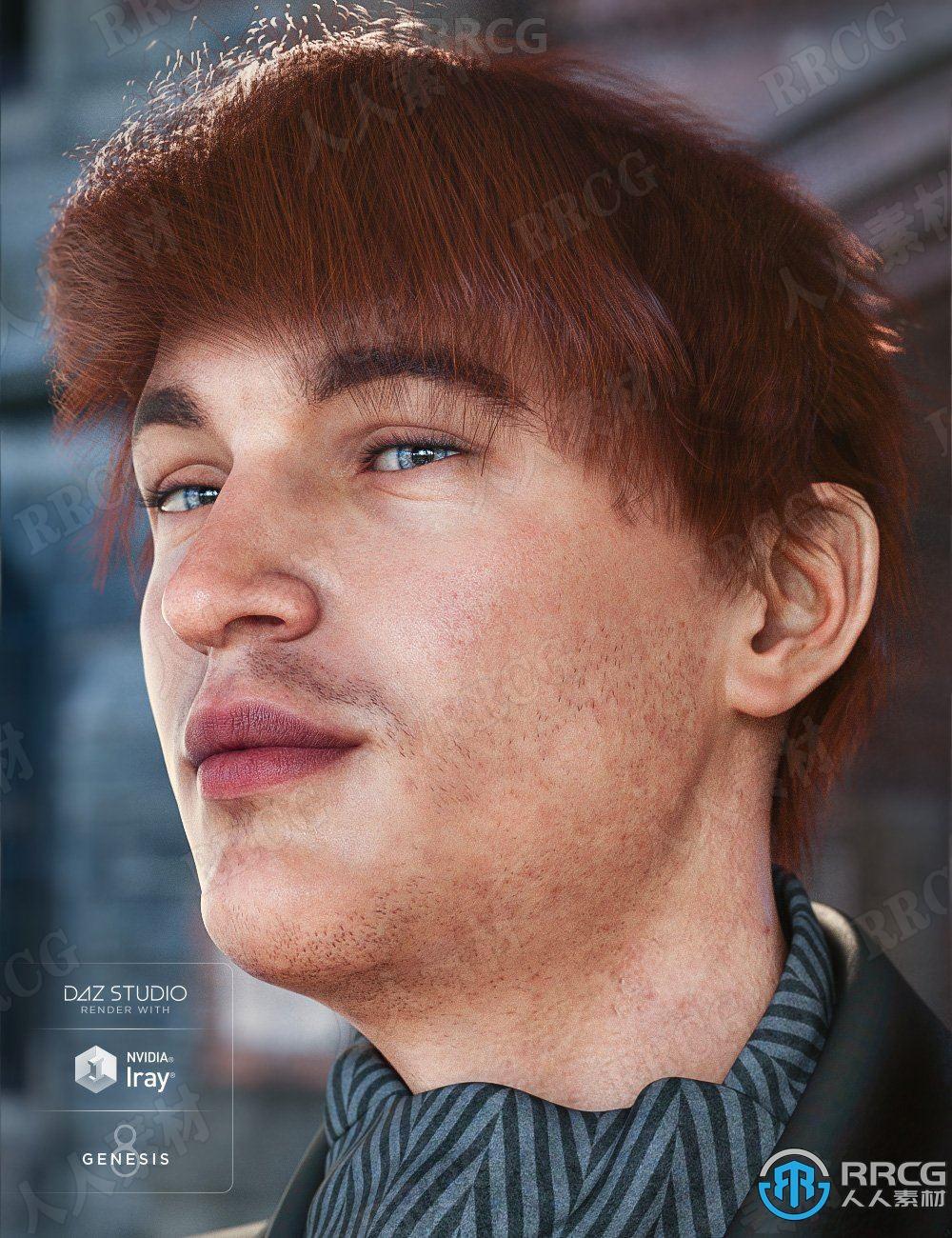 中长发斜刘海男性头发发色3D模型合集