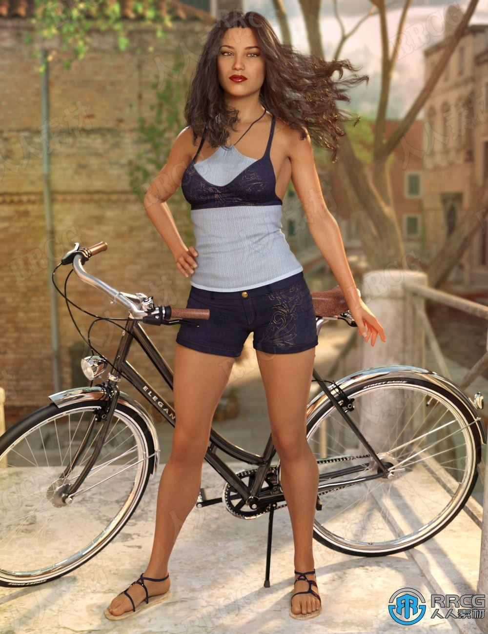 夏季凉爽女性吊带服饰套装3D模型合集