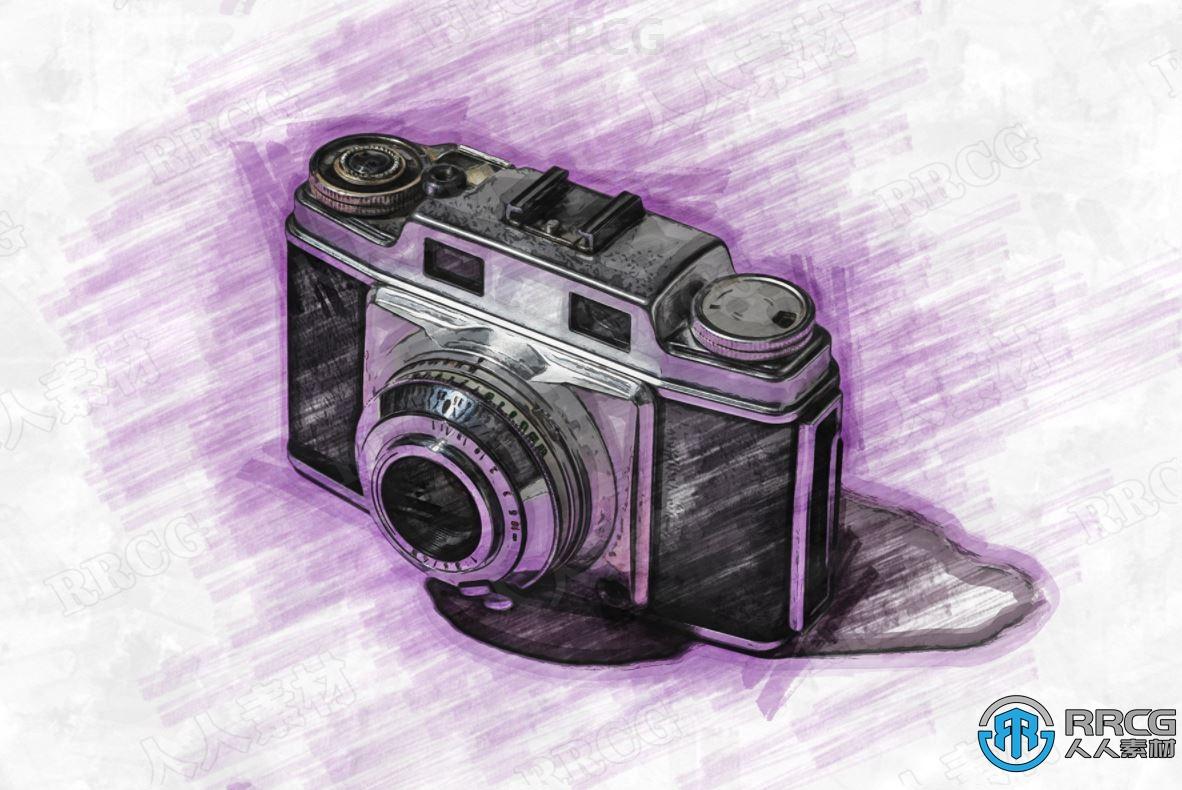 水彩画标记草图效果人像艺术图像处理特效PS动作