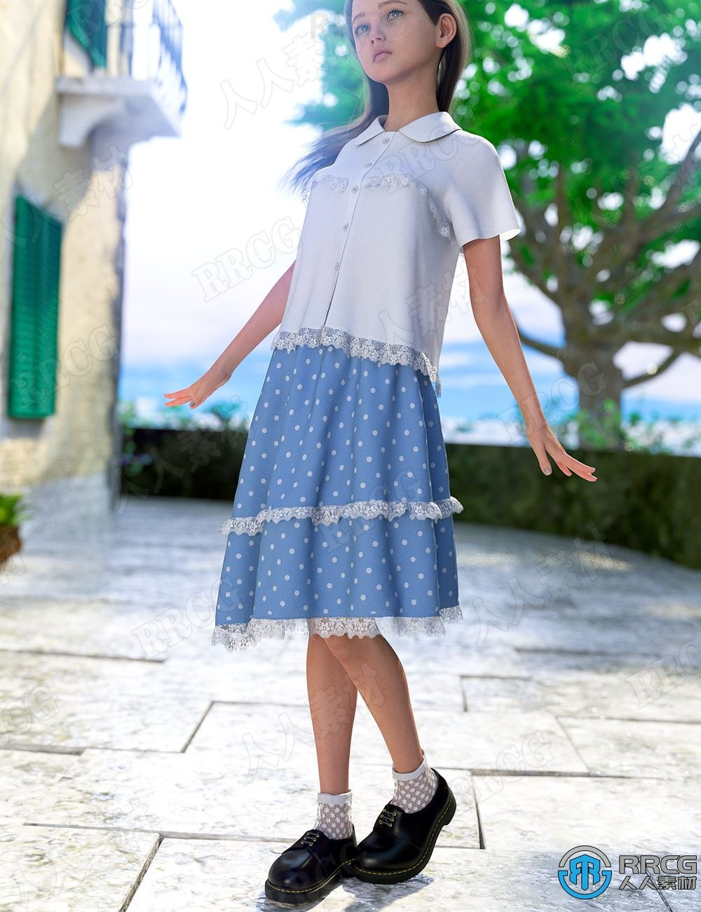 荷叶边斑点学院风分体女性裙装服饰3D模型合集
