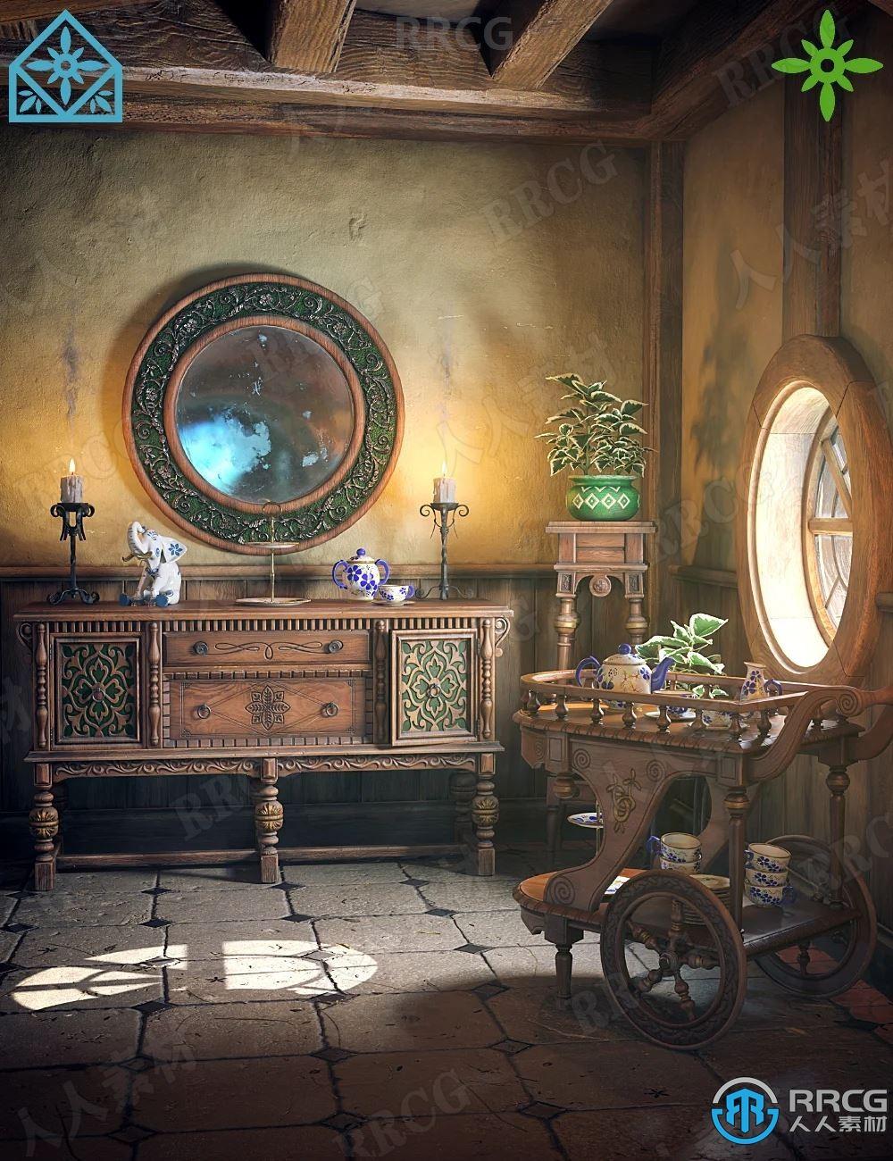 中世纪复古科幻走廊家具道具室内设计3D模型合集