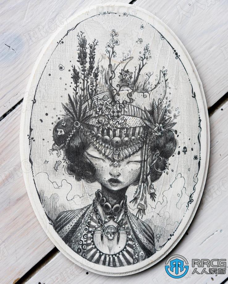 法国画师Moon_mxtr法式洛可可画风人物装饰涂鸦水彩原画插画集