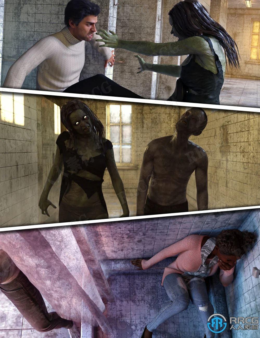 恐怖僵尸对战场景生存技能姿势3D模型合集