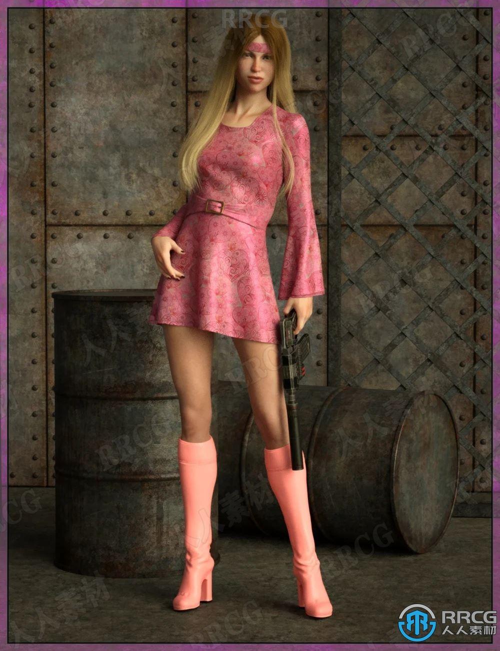 复古皮质女性春秋连衣裙长靴服饰套装3D模型合集
