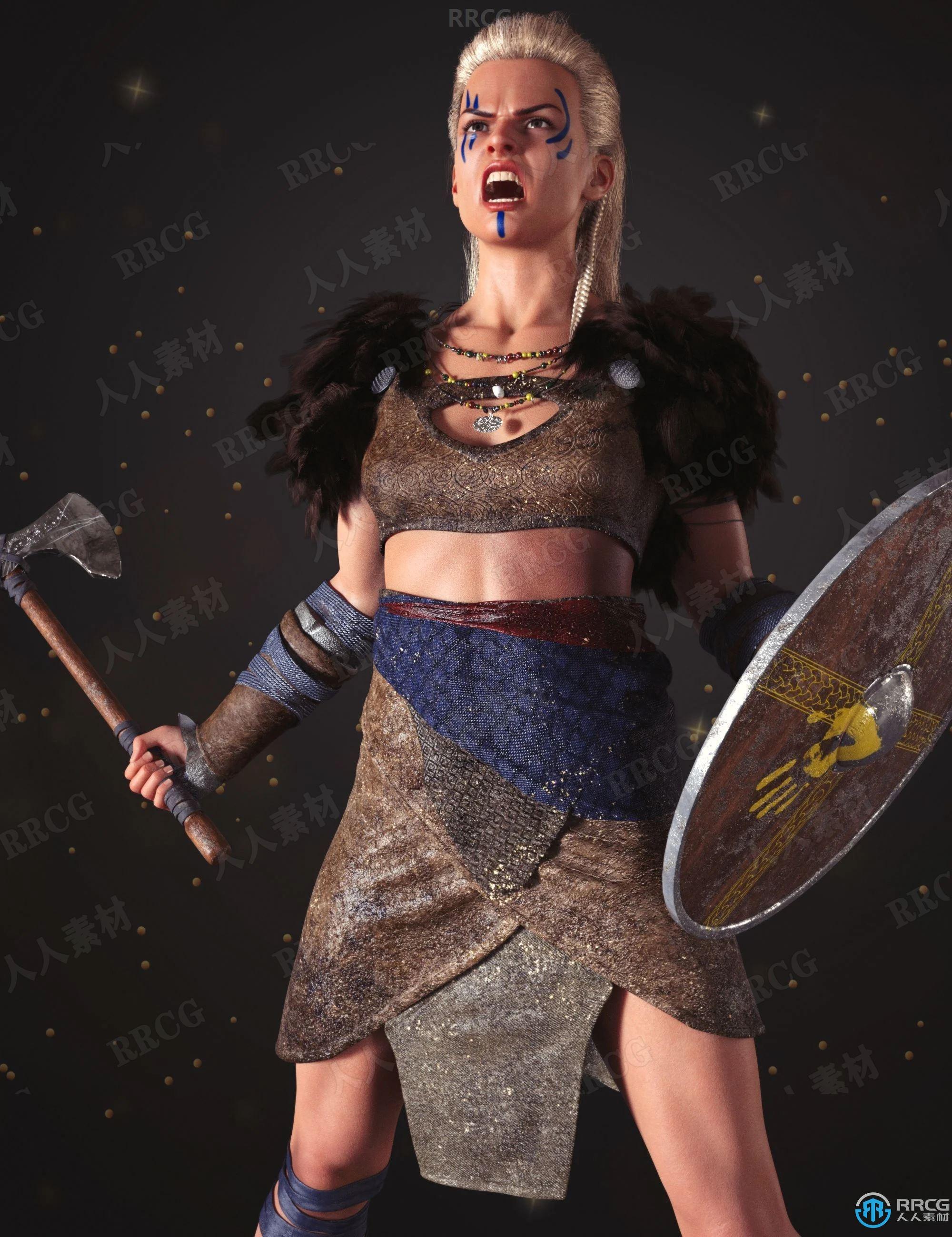 科幻复古中世纪欧洲战士野性角色3D模型合集