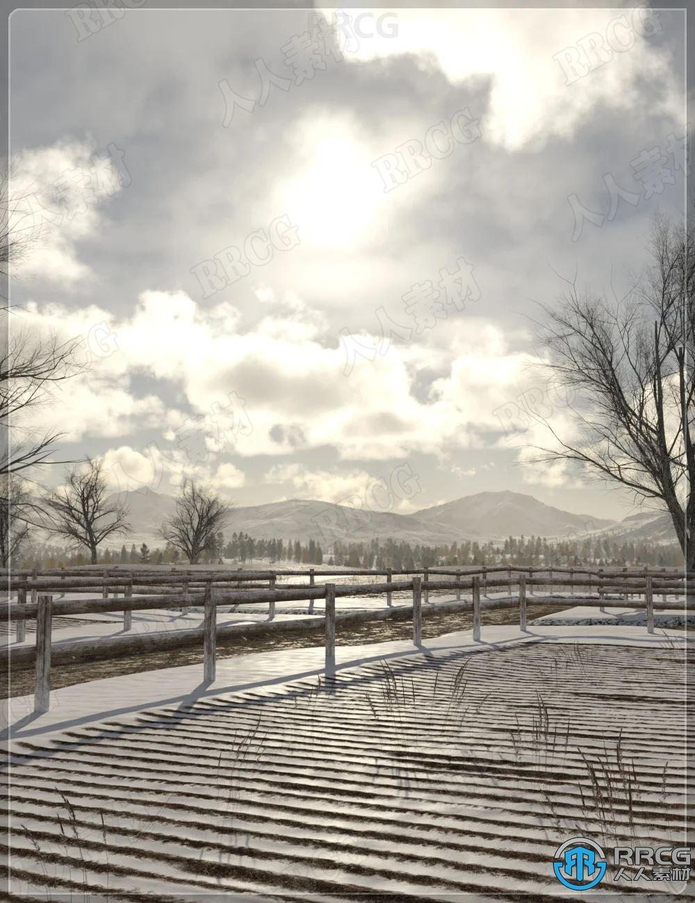 冬季空旷田野自然环境景观场景3D模型合集