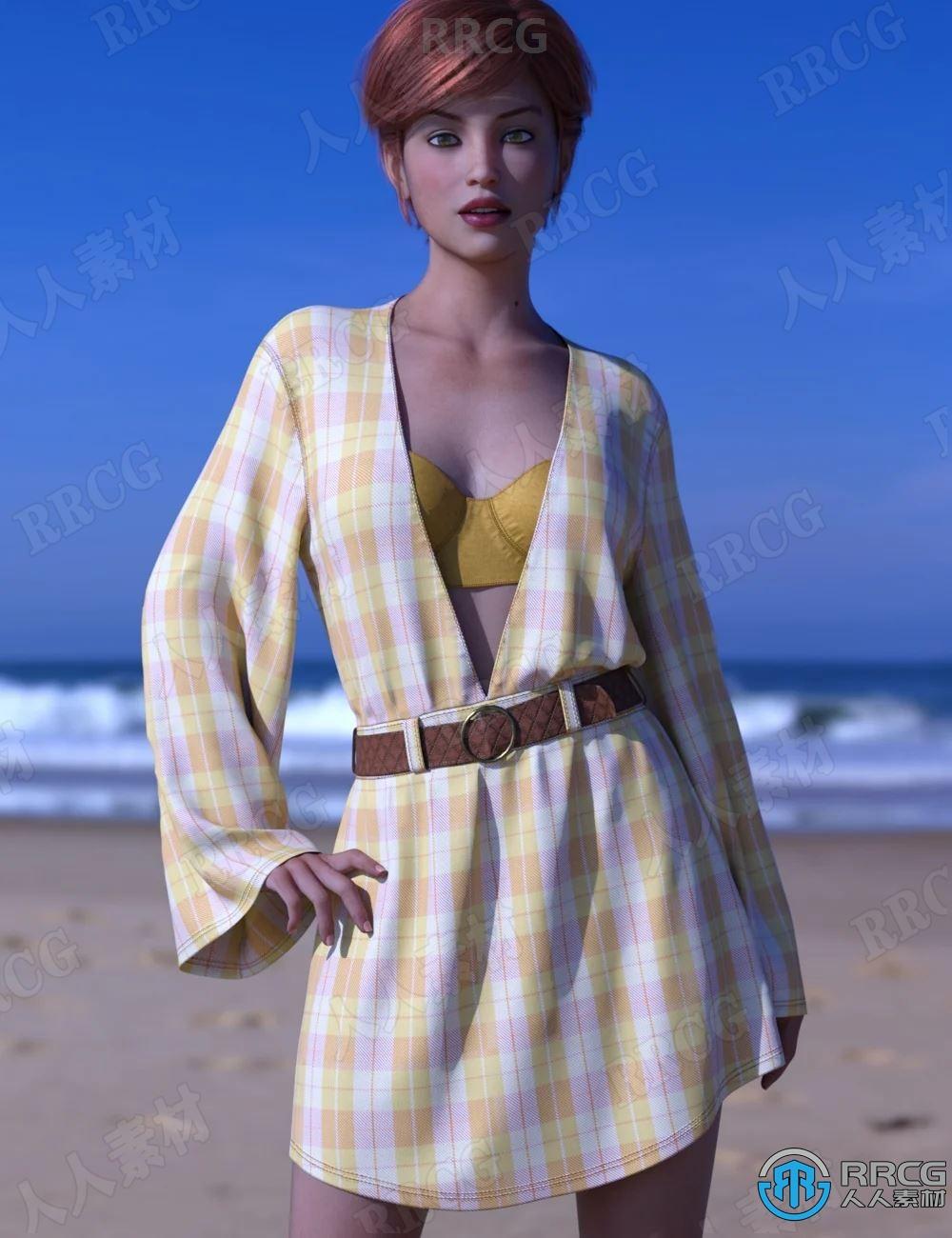 比基尼泳装低V棉质衬衫式连衣裙女性服饰套装3D模型合集