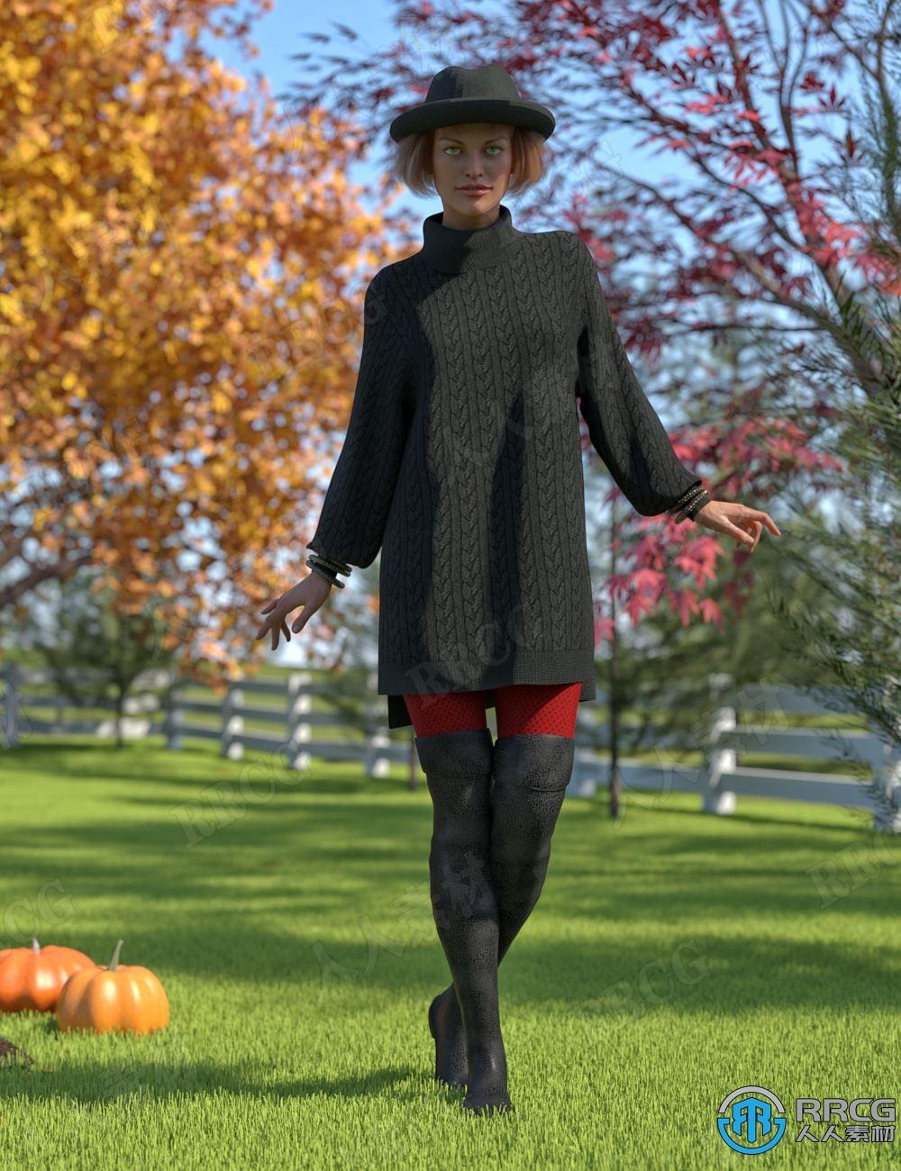 秋季女性长款净版毛衣长靴服饰套装3D模型合集
