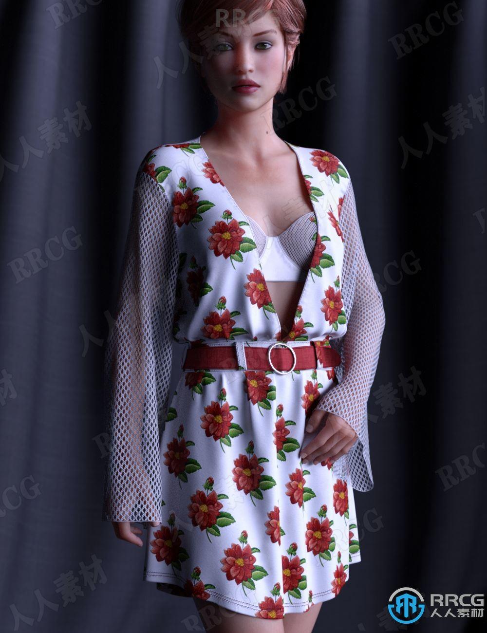 花朵图案钩针编织网袖碎缎连衣裙服饰套装3D模型合集