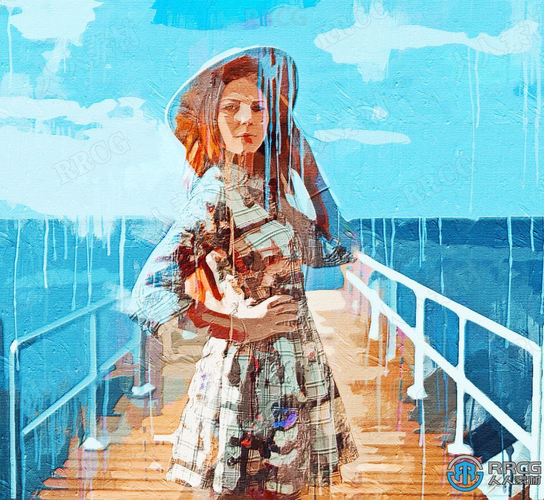 流淌颜料效果水彩油画逼真写实人像艺术图像处理特效PS动作