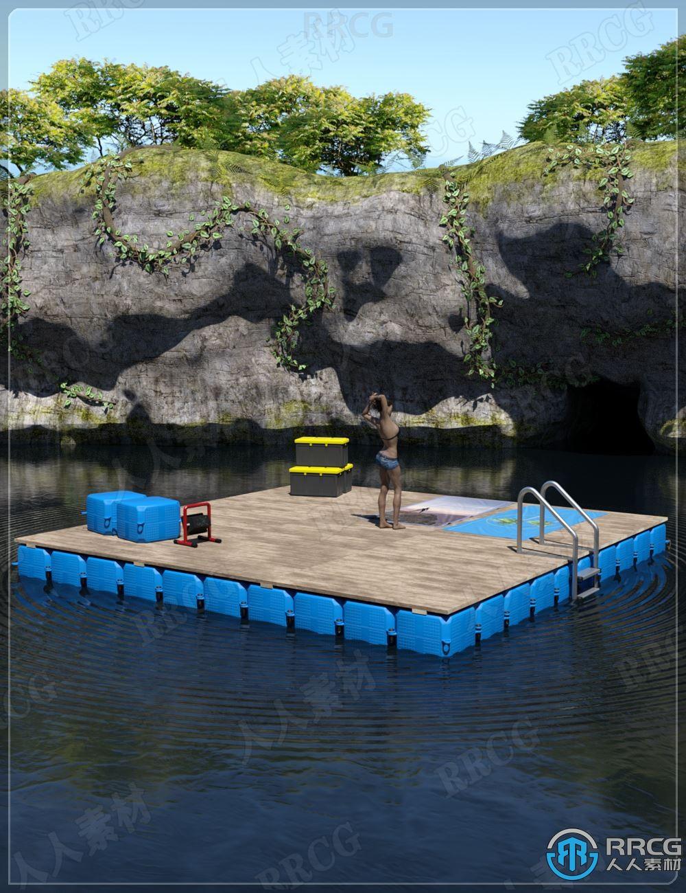 田园筏子和泻湖幽静环境场景3D模型合集