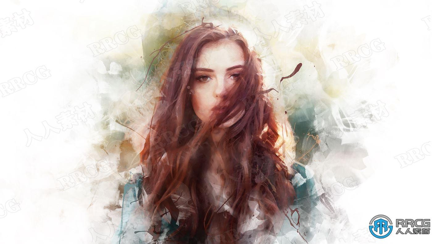 逼真写实水墨风格水彩画人像风景静物艺术图像处理特效PS动作