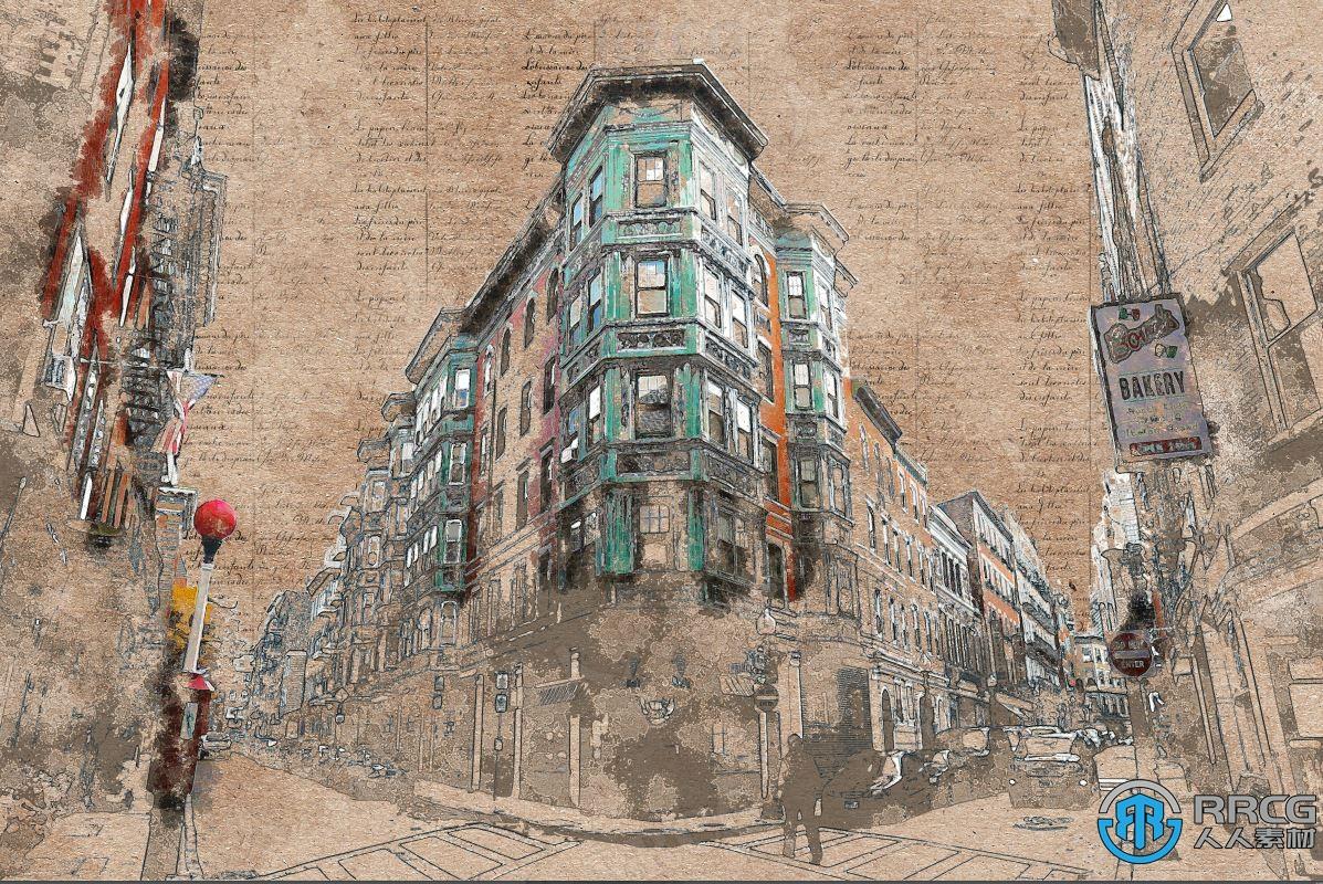 复古泛黄老照片效果写实绘画建筑艺术图像处理特效PS动作