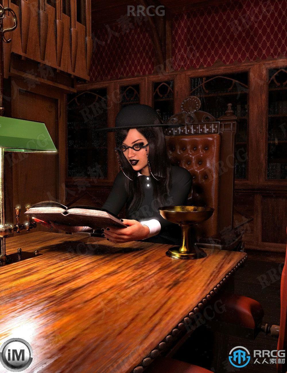 哥特式图书馆女性阅读姿势3D模型合集