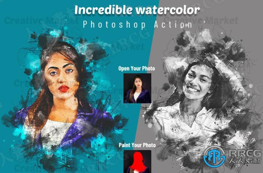 逼真写实水墨晕染边缘人像水彩画艺术图像处理特效PS动作