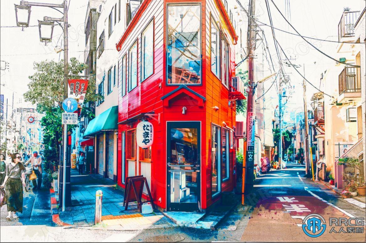 色彩鲜明漫画效果环境场景艺术图像处理特效PS动作
