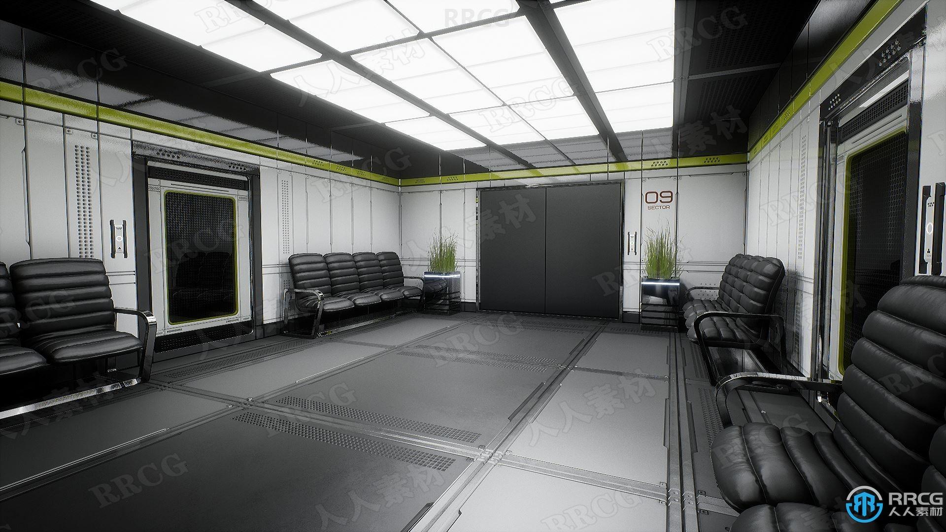2045年未来派科技感奢华办公室模块化环境架构Unreal Engine游戏素材资源