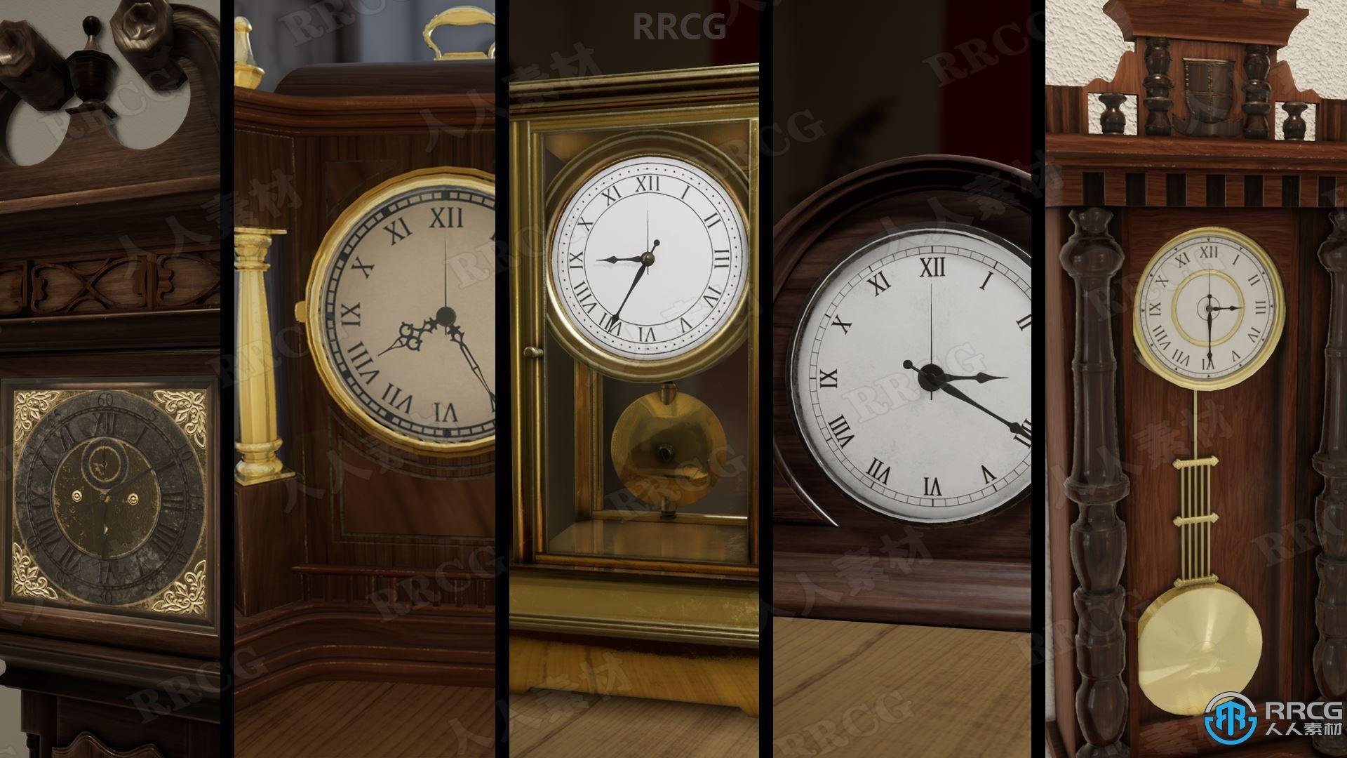 6组漂亮复古逼真时钟模型Unreal Engine游戏素材资源