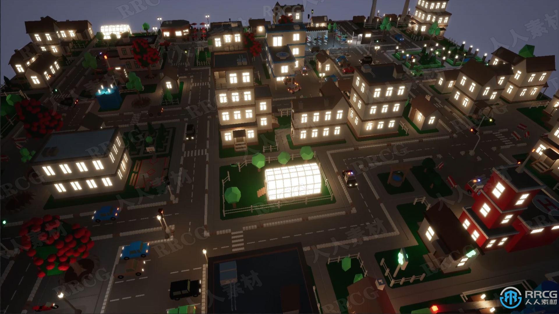 低聚城市现代建筑场景Unreal Engine游戏素材资源