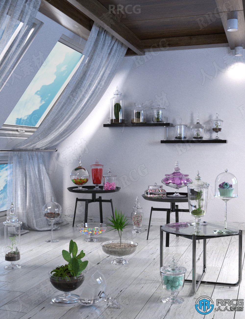 20种不同形状空玻璃罐静物陈设3D模型合集