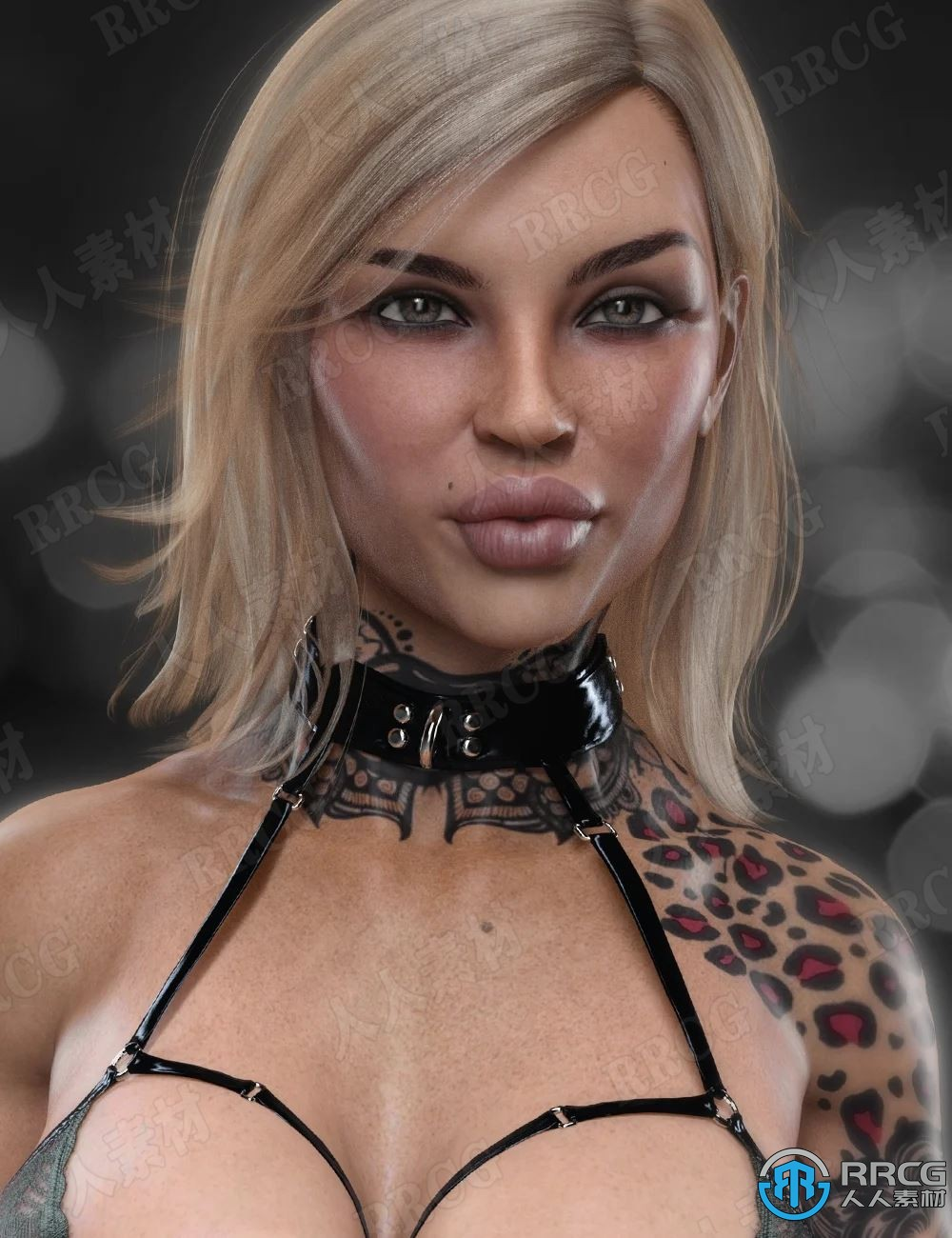 满身纹身花样酷炫妆容高清女性3D模型合集