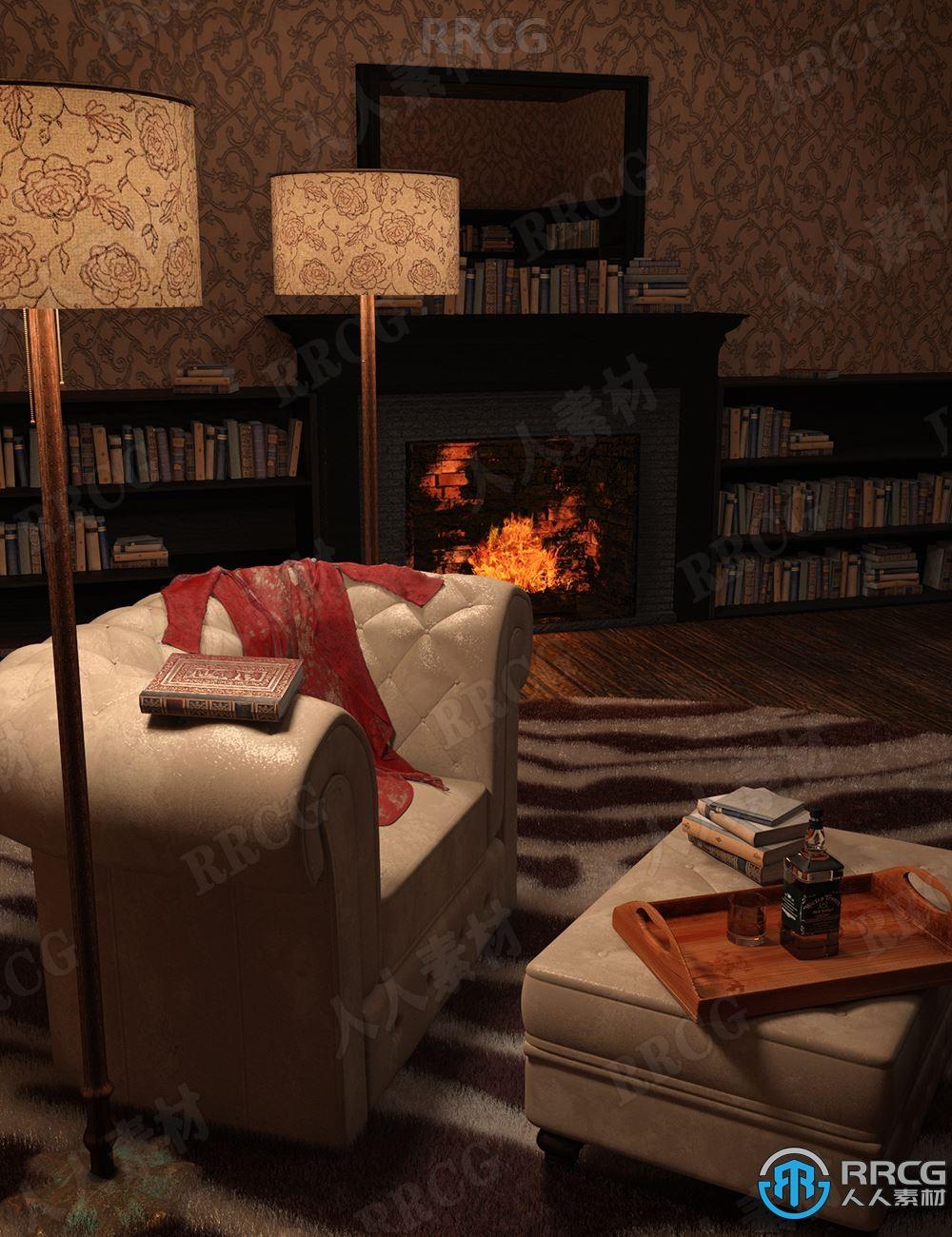 神秘深沉暗色调书房影院室内场景3D模型合集