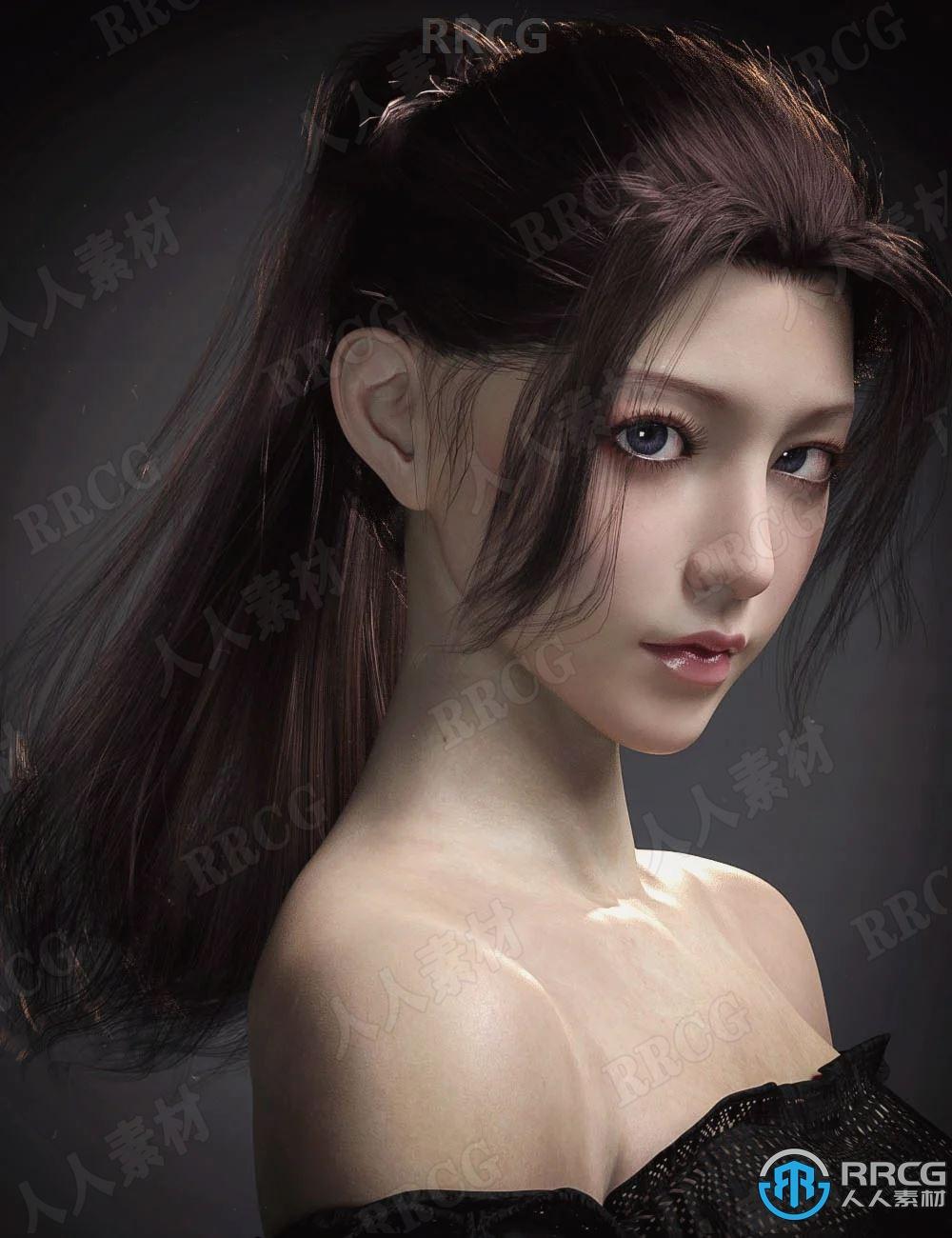 可爱清纯女性不同发色长马尾发型3D模型合集