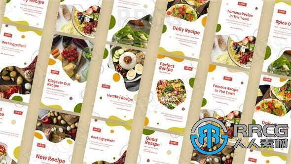 健康轻食食谱菜单海报宣传展示动画AE模板
