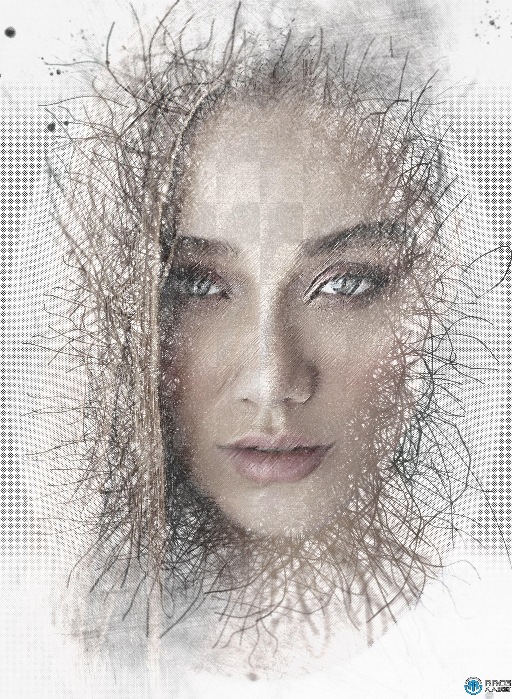 泛白滤镜线条效果人像艺术图像处理特效PS动作