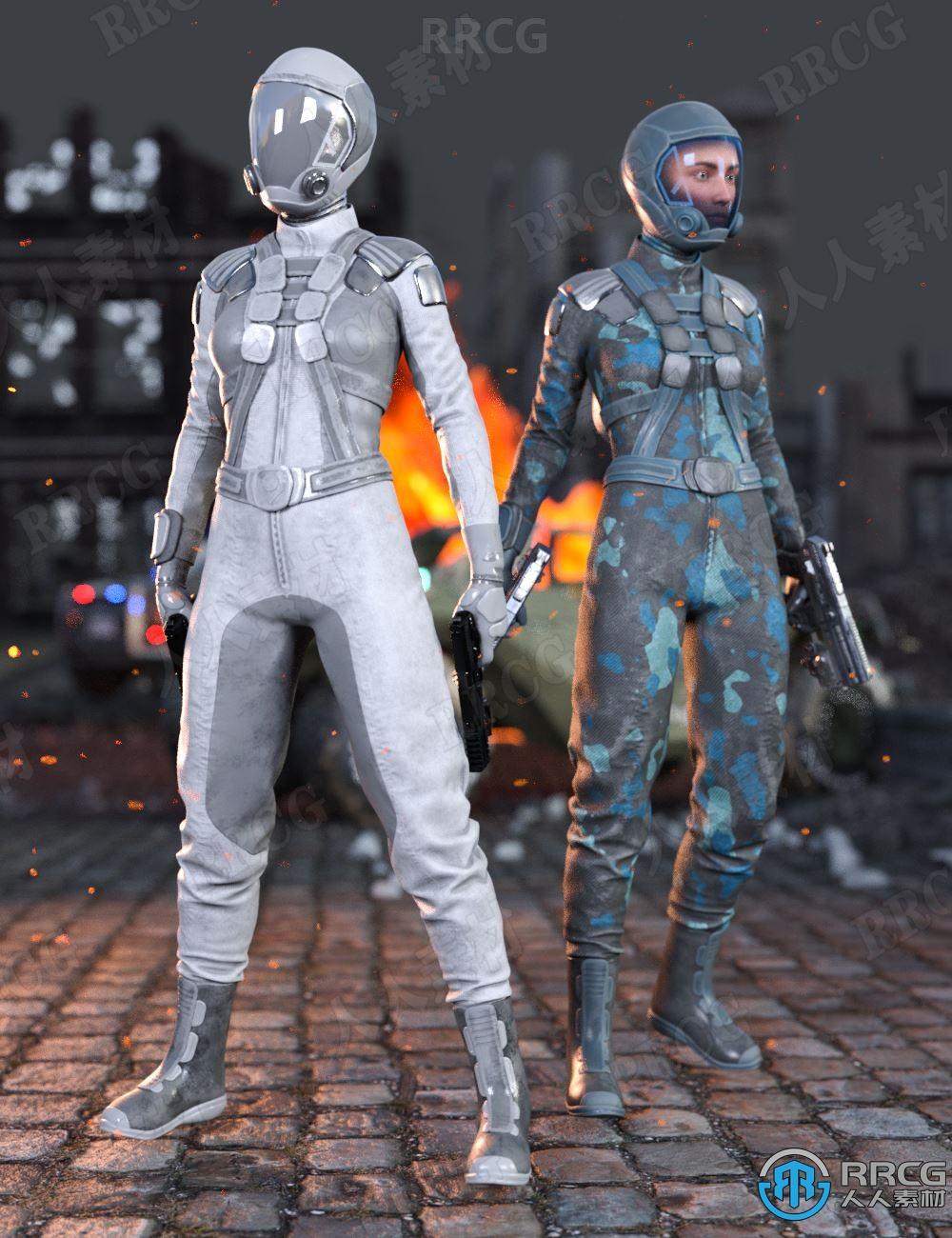 女性科幻重力战斗服饰套装3D模型合集