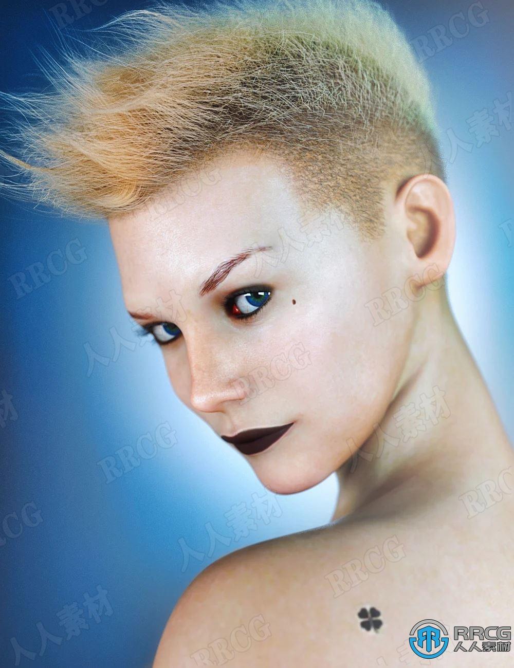 干练酷炫美丽女性不同妆容角色3D模型合集