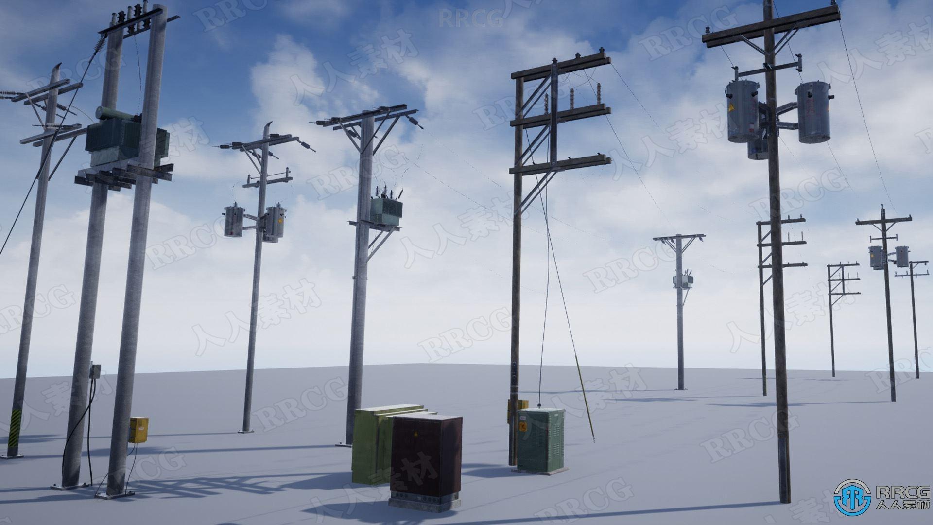 7组动态电源电线杆Unreal Engine游戏素材资源