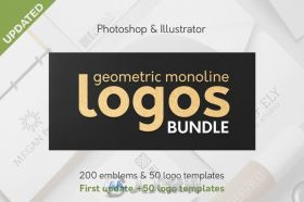 几何束缚LOGO展示AI模板Geometric Logos Bundle