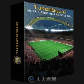 动画形式坐满观众足球场3Dmax模型TurboSquid - Soccer Stadium with animated fans