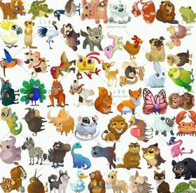 手游《农场英雄传奇》可爱动物美术UI场景图标素材