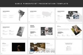 黑白主题PPT模板Sable Powerpoint Template