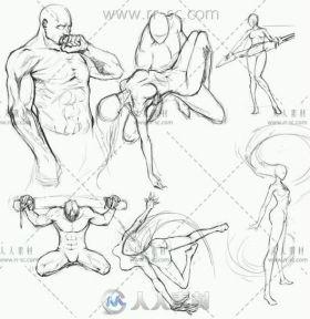 1000个人体动态结构武打姿势速写线稿素材