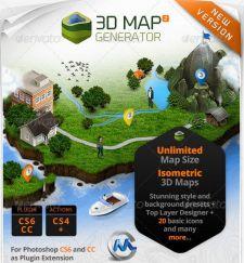 地图 模板/[建筑景观]三维地图自动生成PS模板