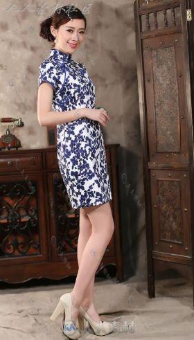 中式古典修身旗袍参考素材