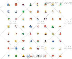 1000枚精致艳丽扁平化图标素材